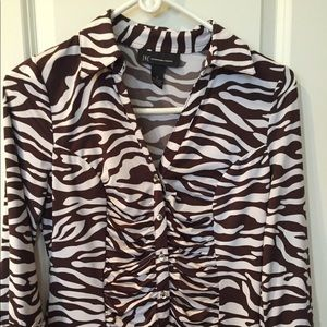 INC BROWN ZEBRA STRIPED BUTTON UP TOP SIZE SMALL